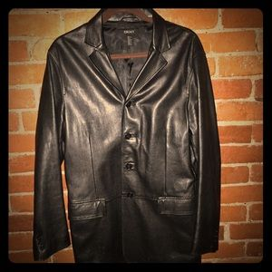 DKNY Leather Blazer Jacket